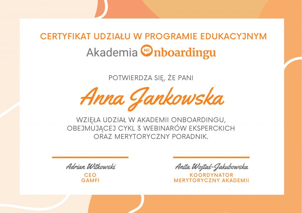 Akademia Onboadingu   odbierz certyfikat udziału